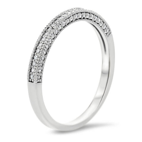 Vintage Style Diamond Wedding Band - Bit Band - Moissanite Rings