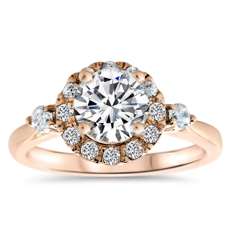 Diamond Halo Moissanite and Diamond Engagement Ring - Nicola - Moissanite Rings