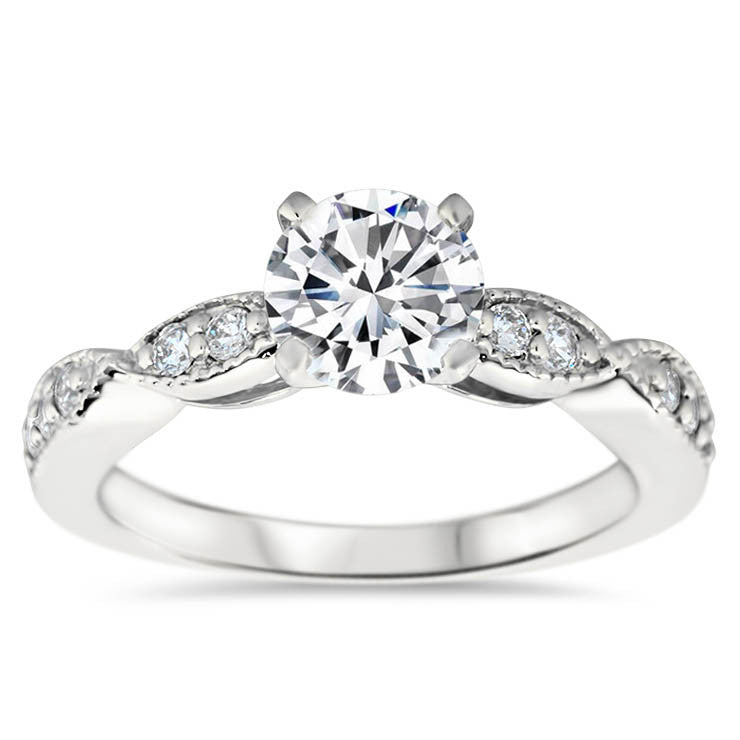 Cinched Diamond Engagement Ring Setting Moissanite Center - Twisted Love - Moissanite Rings