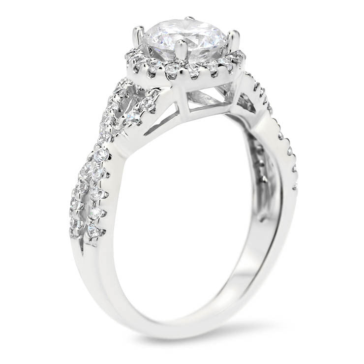 nfinity Band Engagement Ring Diamond Halo -Laura - Moissanite Rings