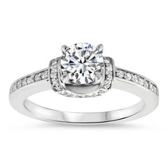 Diamond Accented  Forever One Moissanite Engagement Ring - Shawl - Moissanite Rings