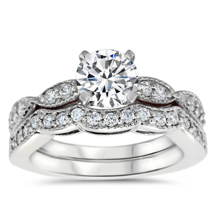 Engagement Ring and Matching Wedding Band - Twisted Love Wedding Set