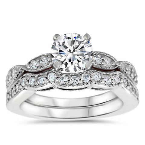 Engagement Ring and Matching Wedding Band - Twisted Love Wedding Set - Moissanite Rings