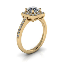 Moissanite Engagement Ring Vintage Style Halo - Balisa - Moissanite Rings