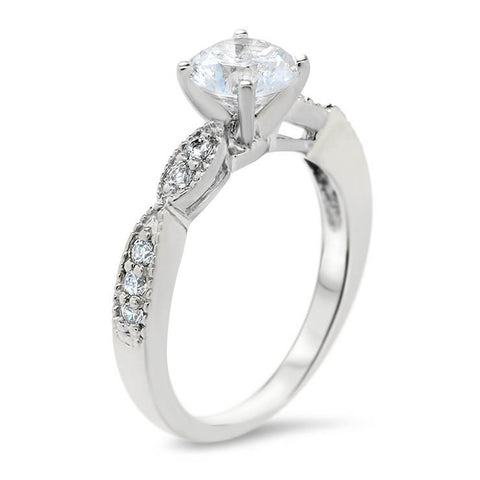 Cinched Diamond Engagement Ring Setting Moissanite Center - Twisted Love