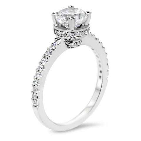 Moissanite and Diamond Belted Engagement Ring Forever One Center Stone- Nora - Moissanite Rings