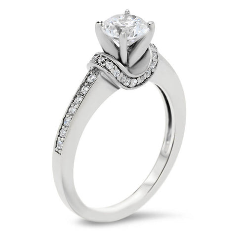 Diamond Accented  Forever One Moissanite Engagement Ring - Shawl