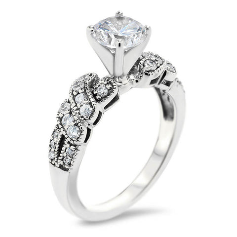 Diamond Twisted Engagement Ring Moissanite Center -  City