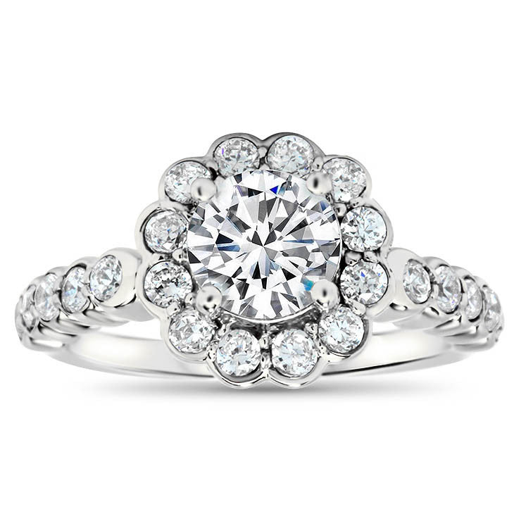 Modern Floral Style Forever One Moissanite and Diamond Engagement Ring - Daisy - Moissanite Rings