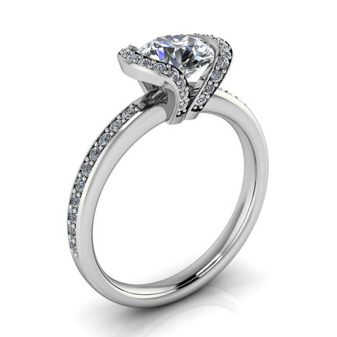 Half Bezel Set Engagement Ring Moissanite and Diamond - Jessica - Moissanite Rings