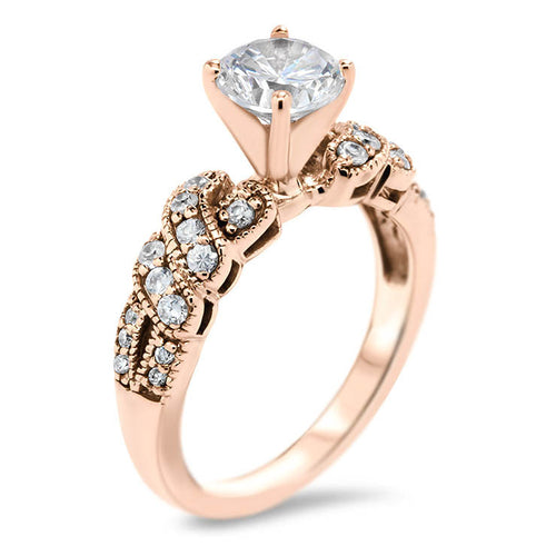 Diamond Twisted Engagement Ring Forever One Moissanite Center -  City - Moissanite Rings