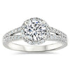 Vintage Style Moissanite Engagement Ring - Split Shank Halo - Moissanite Rings