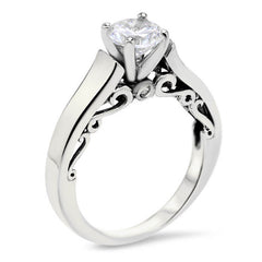 Filigree Moissanite Forever One Solitaire Engagement Ring - Stasha - Moissanite Rings