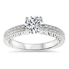 Hand Carved Vintage Style Moissanite Solitaire  - Carved Solitaire - Moissanite Rings