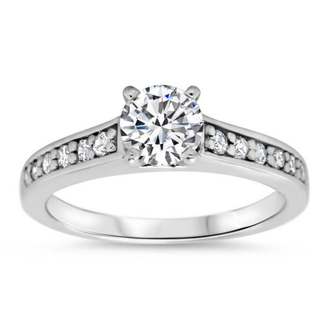 Moissanite and Diamond  Engagement Ring Moissanite Center - Sing - Moissanite Rings