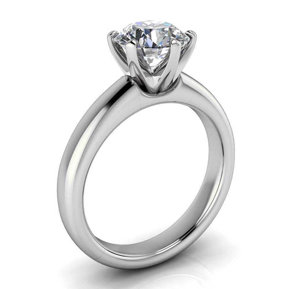 7 mm Six Prong Solitaire Engagement Ring Moissanite Engagement Ring - Cupcake - Moissanite Rings