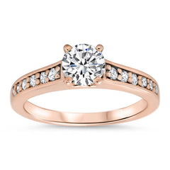 Diamond Accented Engagement Ring Moissanite Center - Sing - Moissanite Rings