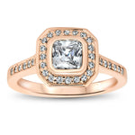 Bezel Set Princess Cut Diamond Halo Moissanite Engagement Ring - Janice - Moissanite Rings