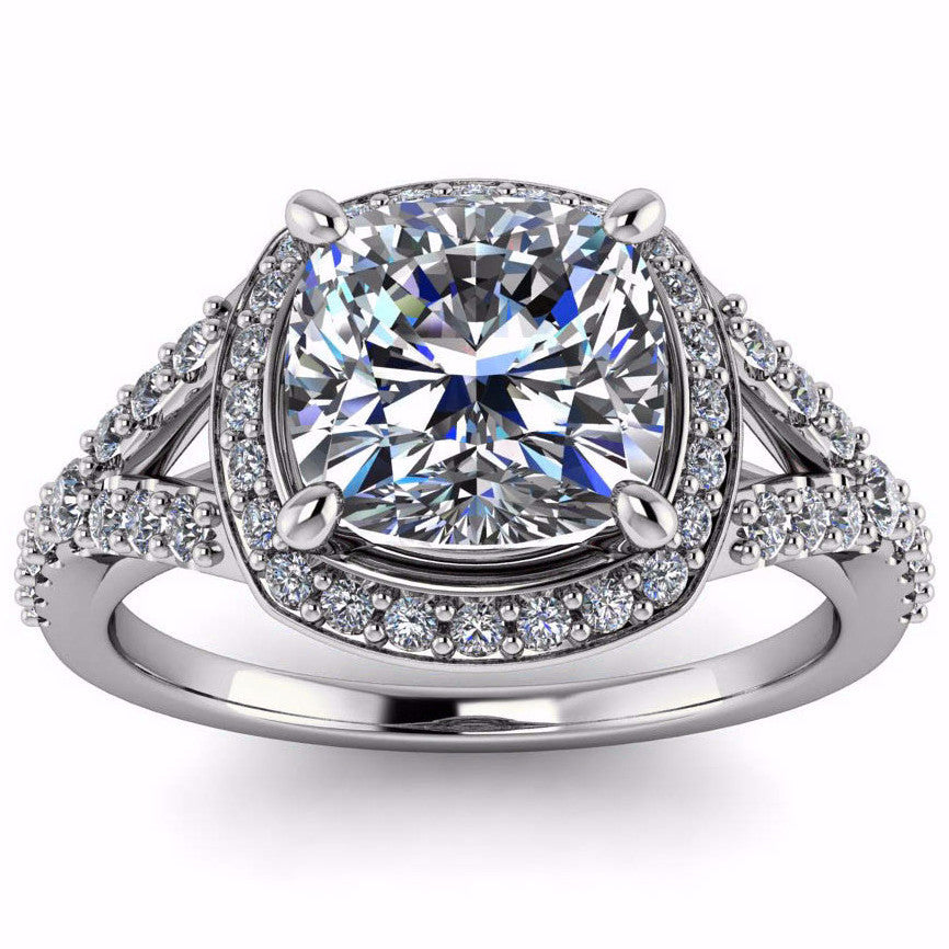Cushion Cut Forever One Moissanite Diamond Setting Engagement Ring - Berlin