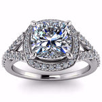 Cushion Cut Forever One Moissanite Diamond Setting Engagement Ring - Berlin - Moissanite Rings
