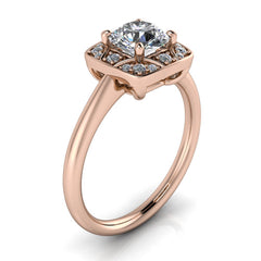 Unique Halo Engagement Ring Plain Band - Balisa II