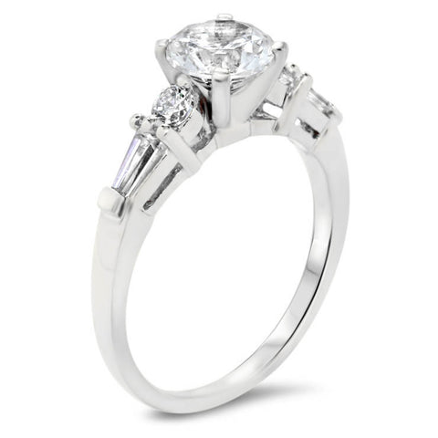 Diamond  Accented Moissanite Engagement Ring - Yvette - Moissanite Rings