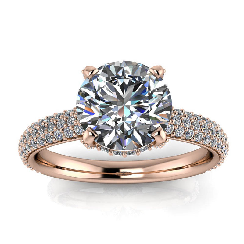 Pave Diamond Engagement Ring - Kerstin - Moissanite Rings