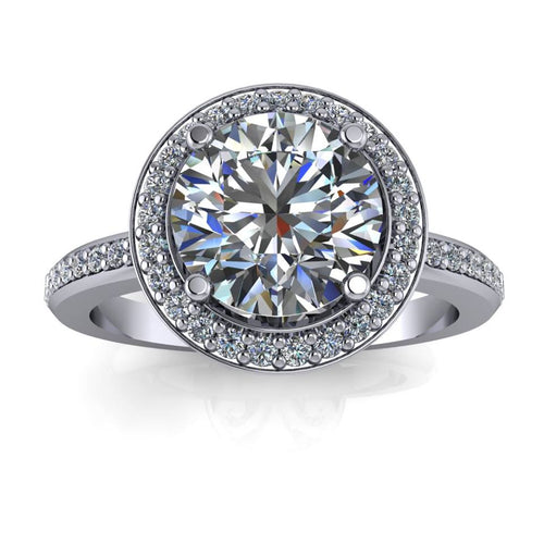 Payment 2 - 7.5 mm Diamond Halo Petite Band Forever One Center Engagement Ring - London - Moissanite Rings