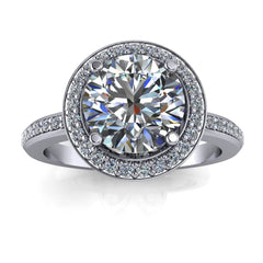 Payment 2 - 7.5 mm Diamond Halo Petite Band Forever One Center Engagement Ring - London