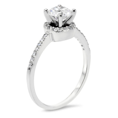 Dainty Diamond Engagement Ring Forever One Moissanite Center - Mindy - Moissanite Rings