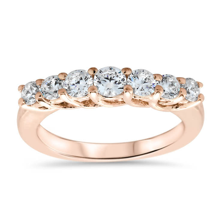 Seven Stone Diamond Wedding Band - Michela Band - Moissanite Rings