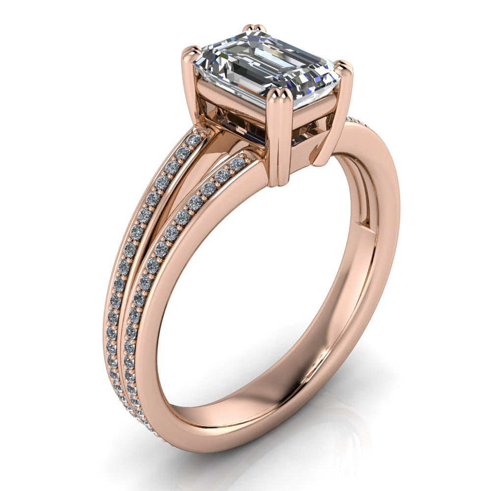 Split Shank Emerald Cut Engagement Ring - Rey