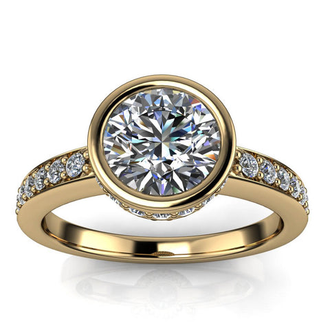 Vintage Bezel Set Engagement Ring - Harper