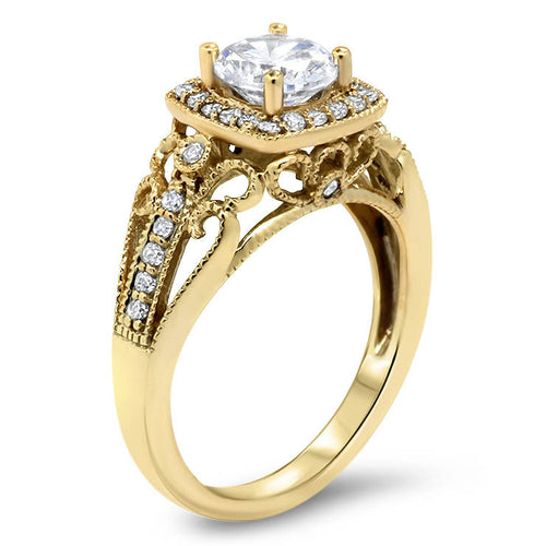 Vintage Style Diamond Halo Moissanite Engagement Ring - Layne - Moissanite Rings