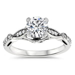Vintage Inspired Diamond Weddign Set - Meg Wedding Set - Moissanite Rings
