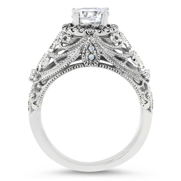 Vintage Inspired Moissanite and Diamond  Engagement Ring - Bette - Moissanite Rings