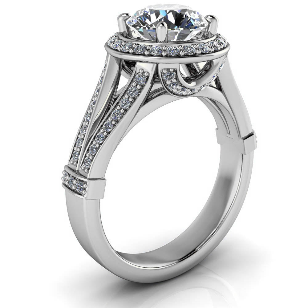 Split Shank Diamond Halo Engagement Ring - Ambar - Moissanite Rings