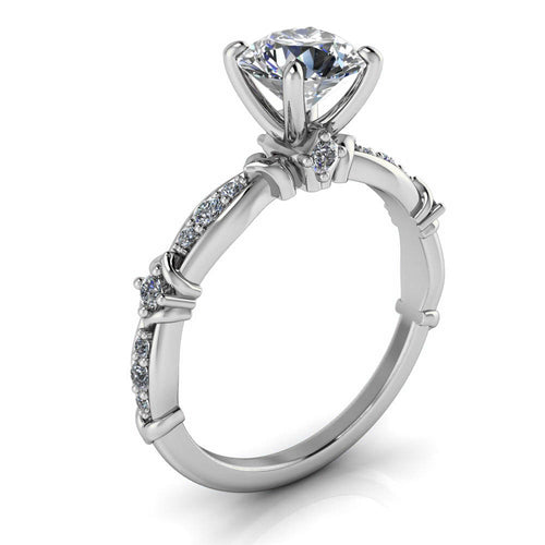 Unique Moissanite and Diamond Engagement Ring - Lennox - Moissanite Rings
