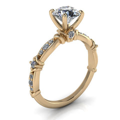 Unique Moissanite and Diamond Engagement Ring - Lennox