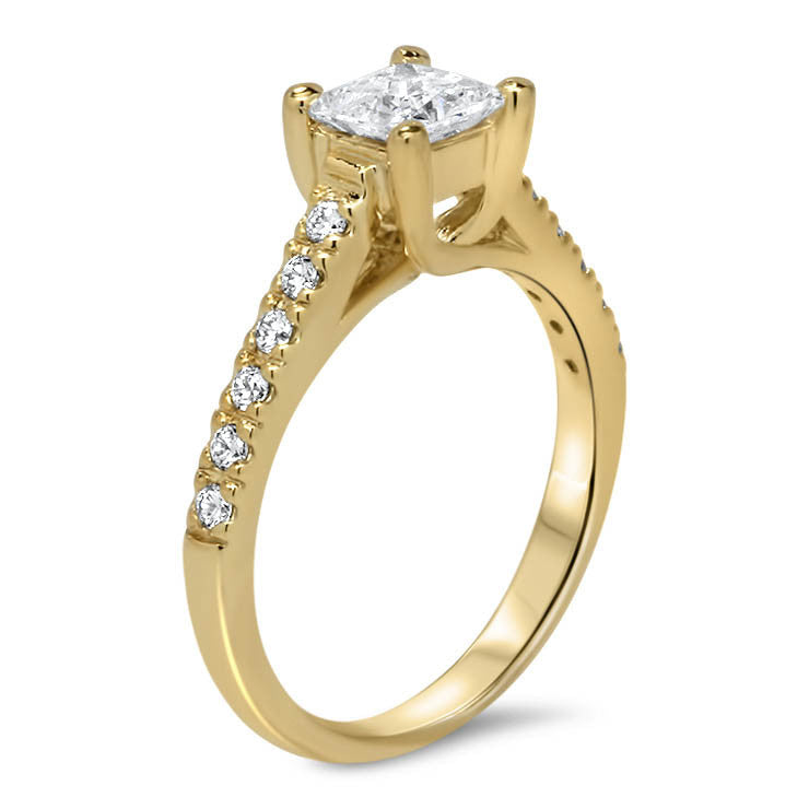 Princess Cut Moissanite Engagement Ring Moissanite and Diamonds- Christina - Moissanite Rings