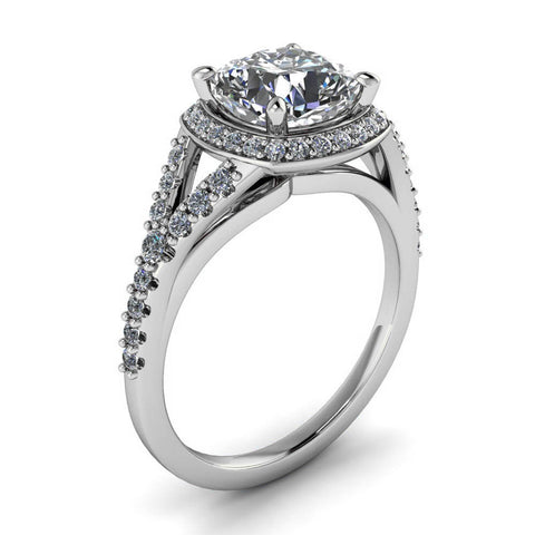 Cushion Cut Forever One Moissanite on a Diamond Set Engagement Ring - Berlin