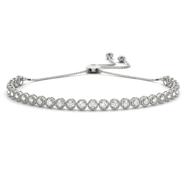 Milgrain Bezel Set Diamond Adjustable Bolo Bracelet 1 Carat