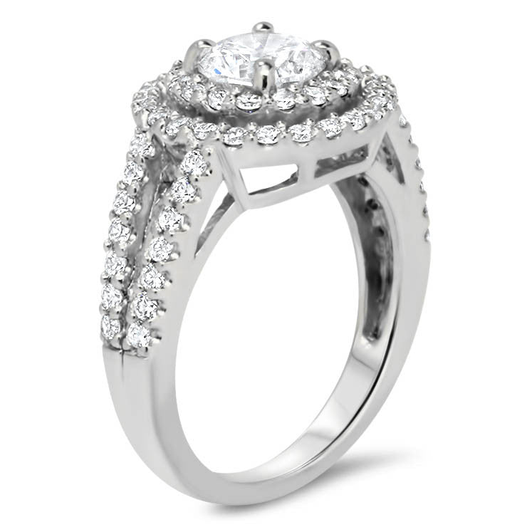 Moissanite Center Double Diamond Halo Split Shank Engagement Ring - Deb - Moissanite Rings