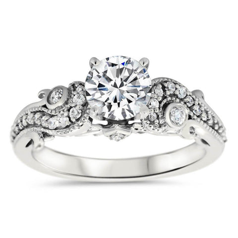 Unique Diamond Engagement Ring Setting Moissanite Center Stone - Seeds of Love