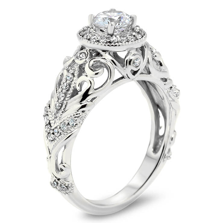 Vintage Inspired Forever One Center Moissanite Engagement Ring - Zoila - Moissanite Rings