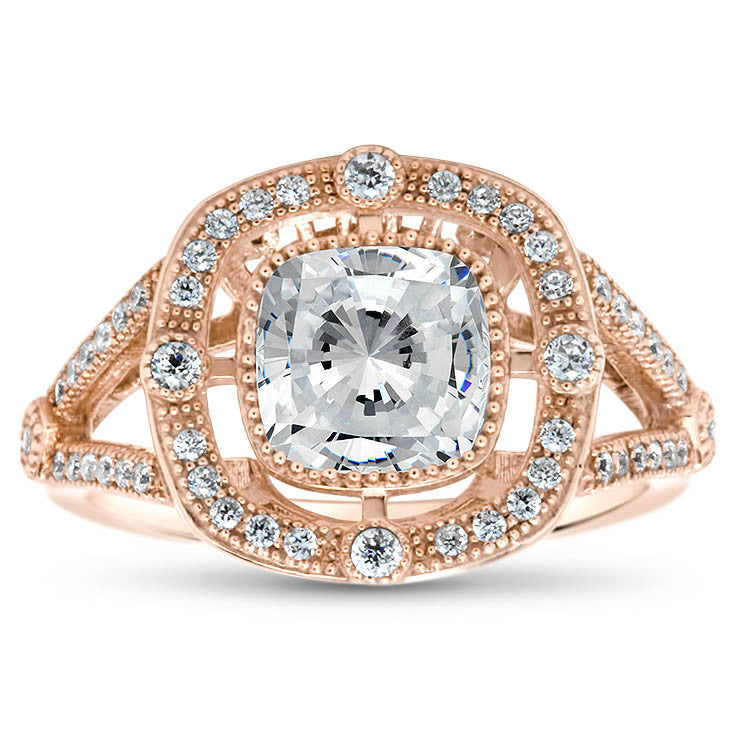 Split Shank Cushion Cut Vintage Inspired Forever One Engagement Ring - Diane - Moissanite Rings