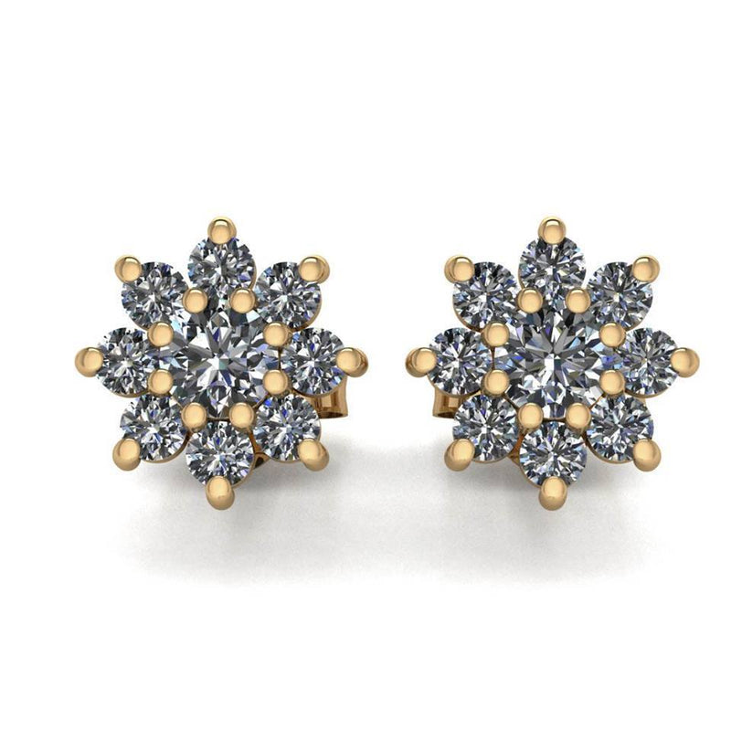 Diamond Snowflake Earrings - Snowflake Studs - Moissanite Rings