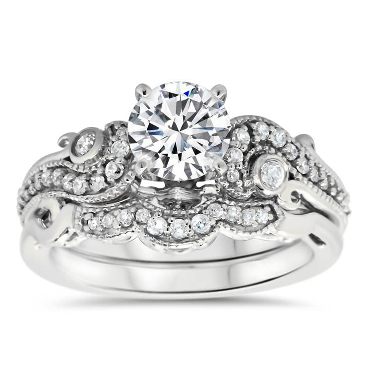 Unique Vintage Inspired Diamond Wedding Set - Seeds of Love Set - Moissanite Rings