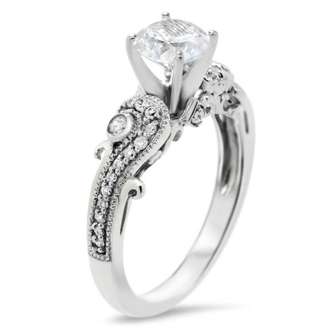 Unique Diamond Engagement Ring Setting Moissanite Center Stone - Seeds of Love - Moissanite Rings
