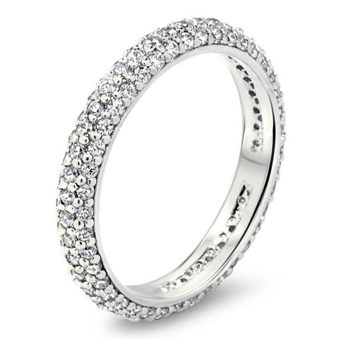 Three Row Diamond Pave Eternity Wedding Band - Pop - Moissanite Rings